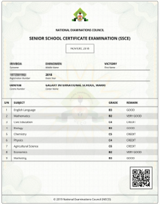 A Sample of NECO Result